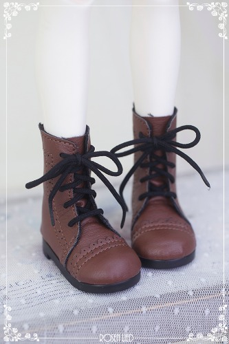 Laced up middle boots (Brown)