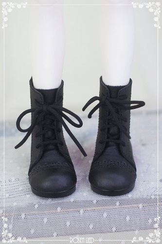 Laced up middle boots (Black)
